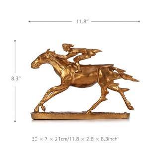 Scultura in metallo Knight On Cavalry Horse Figurine Scultura moderna Decor Statue da collezione Regalo Color bronzo