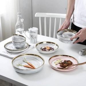 Set da pranzo ciotola in ceramica con osso superiore Set di scodelle per zuppa di famiglia in ceramica Phnom Penh serie di piatti in porcellana