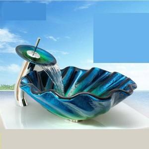 Lavabo in vetro temperato Podium Anomalia del bagno Art Lavabo Lavabo sanitari Lavabo in vetro lavabo blu