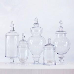 Barattolo di caramelle trasparente Partito Dessert Bottiglia Bottiglia Tavolo da pranzo Coperchio decorativo a strisce alto Serbatoio di vetro vasetti e coperchi