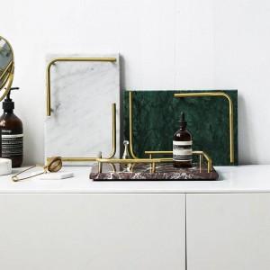 Vassoio Nordic Light Lusso marmo naturale Vassoio portaoggetti Home Piatto rettangolare Portapiatti Piatto sushi