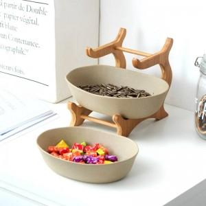 Centrotavola in ceramica glassata a due livelli in ceramica satinata per piatti da portata in ceramica per frutta, insalata e snack