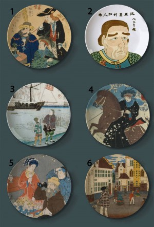 Piatti decorativi per pittura Ukiyo-e Piatti artistici per la casa in ceramica in stile giapponese Piatti per bar in hotel Visualizza sfondo Pittura ad olio
