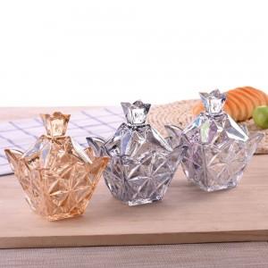 Varietà di diamanti colorati in vetro Barattolo di caramelle Rotondo con coperchio Contenitore di caramelle Serbatoio di zucchero cubo creativo trasparente