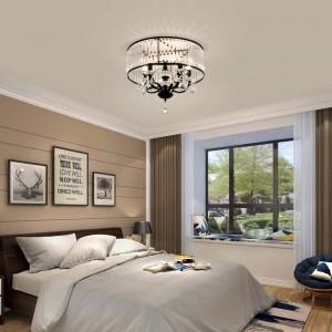 Plafoniera vintage in ferro nero a led Paralume in cristallo Lampadari moderni a soffitto Illuminazione nordica Lampada da soggiorno per soggiorno