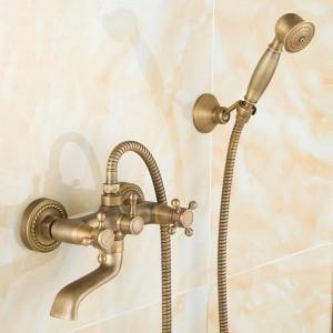 Miscelatori da bagno in ottone anticato a parete 360 rubinetti orientabili lavandino del bagno miscelatore rubinetto gru con doccetta soffione doccia rubinetto