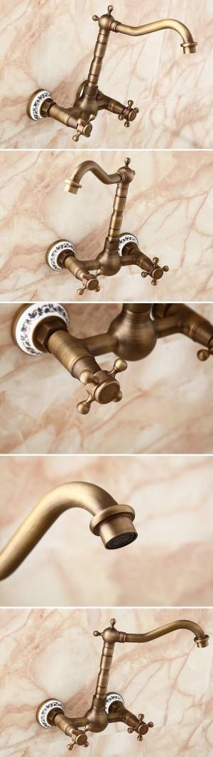 Rubinetti a parete Rubinetto girevole da cucina Lavabo da bagno in porcellana Lavabo in ottone Gru miscelatore 9058AP