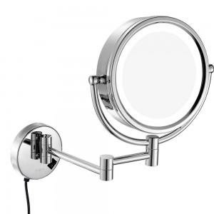 Specchio per trucco girevole a LED illuminato a parete con ingrandimento 10X / 7X / 5X, specchi a doppio lato / regolari / a specchio, plug-in
