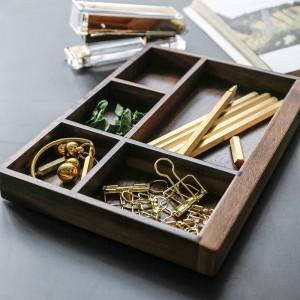 Vassoio portaoggetti in legno divisorio in noce Nordic Modern Scandinavia Tool Food Jewelry Sundries Desktop Storage Box Home Organizer