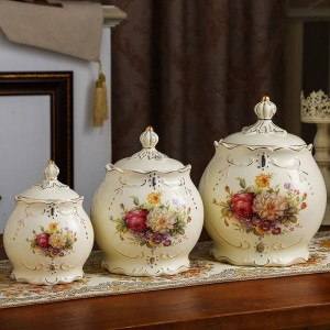 decorazione di nozze Vaso sigillato ceramiche serbatoio di stoccaggio grano chicchi vari lattine di tè sottaceti barattoli cucine lattine di caramelle