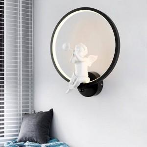 bianco / nero acrilico creativo moderno applique da parete a led angelo bambino camera da letto comodino LED riparo bagno lampada da parete Lustres