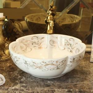 A forma di fiore bianco Lavabo fatto a mano Lavabo Lavabo artistico Lavabo da appoggio in ceramica Lavabo da appoggio