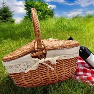 Cesto per cestino da picnic Willow in vimini come borsa della spesa con coperchio e manico e fodera bianca per picnic da campeggio all'aperto che trasportano cibo