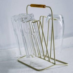 Scaffale di stoccaggio in metallo con manico in legno a doppia faccia semplice bottiglia nordica tazza di scarico scarpiera organizzatore per la casa