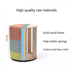 Soggiorno in legno Divano Sgabello Cambio multifunzionale Panca per scarpe Sedile in tessuto Lavabile Sgabello basso in legno massello Sgabello da toeletta