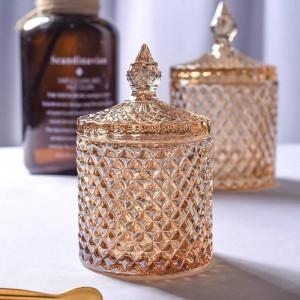 Barattolo di vetro rombico giallo cubo di caffè Cubo di zucchero Cilindro Scatola di tampone di cotone Scatola da tè in fiore Teiera di stoccaggio per gioielli per la casa